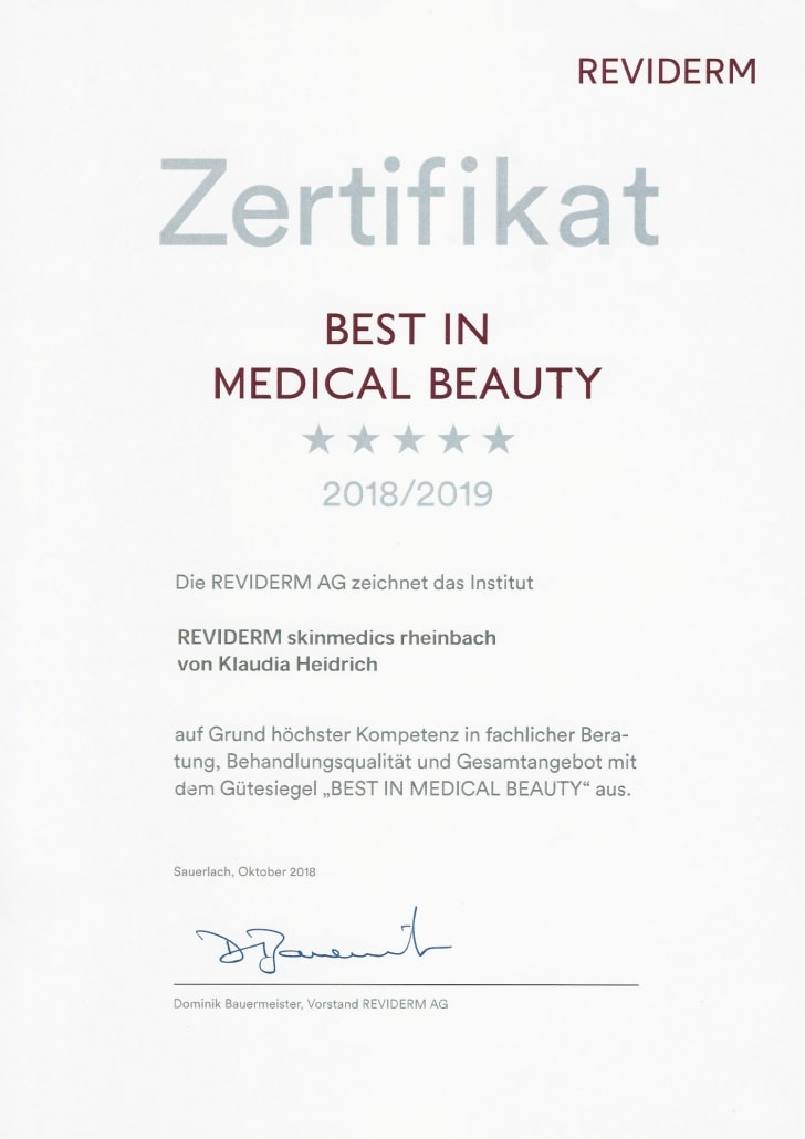 Auszeichnung Klaudia Heidrich mit Best in MedicalBeauty