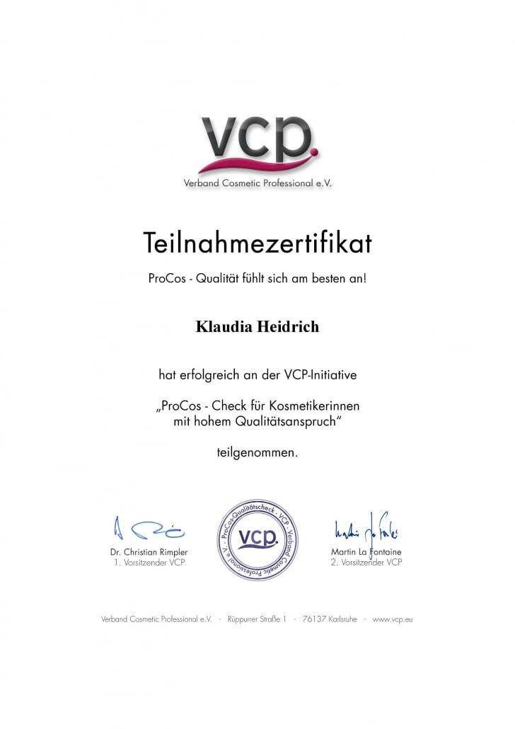 Klaudia Heidrich - VCP ProCos Zertifikat