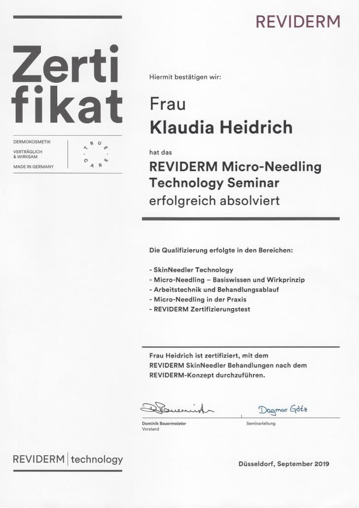 Klaudia Heidrich - Mikroneedling Rezertifizierung in Rheinbach bei Meckenheim